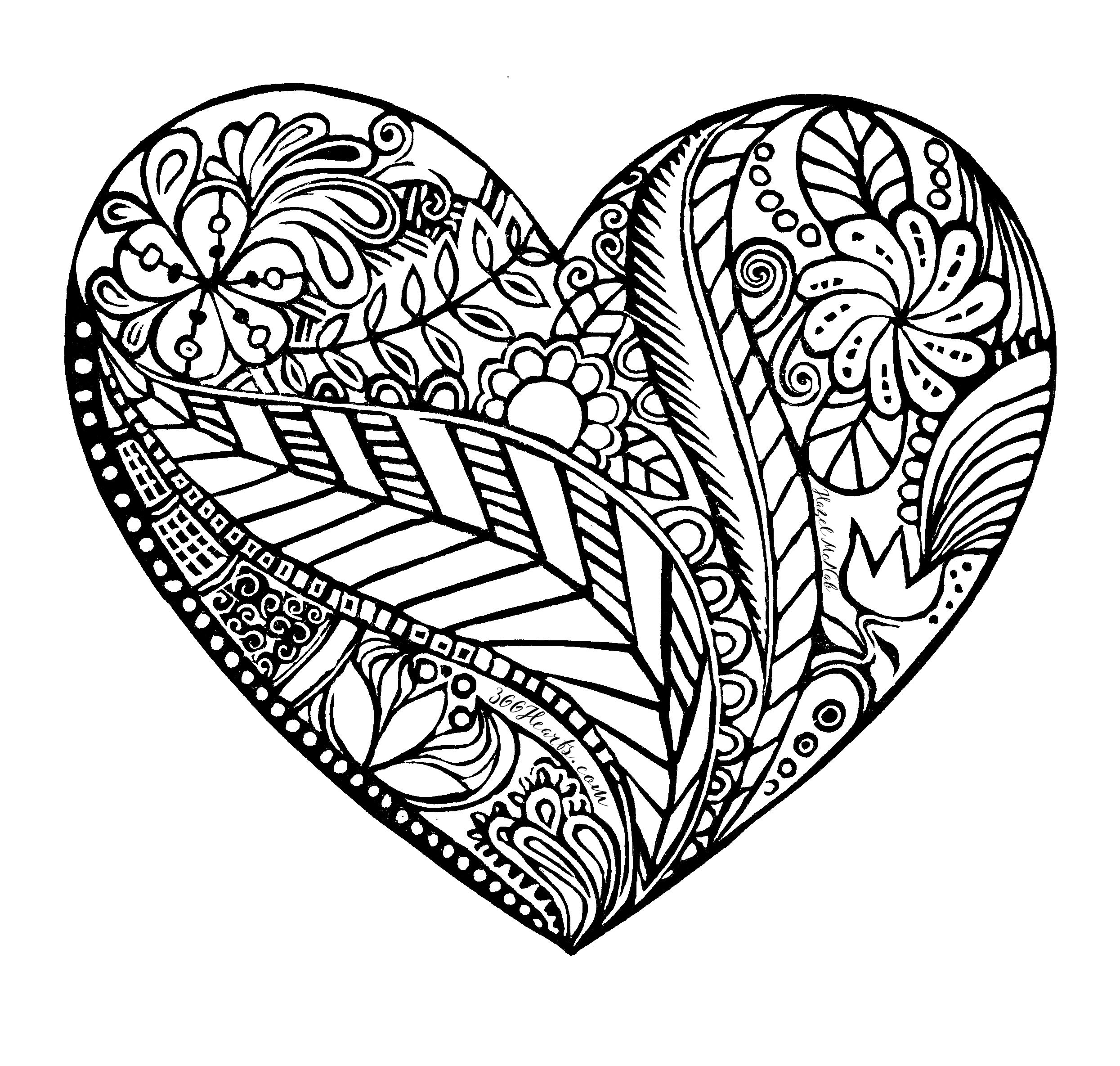 A heart to color by 366Hearts.com | TeachKidsArt
